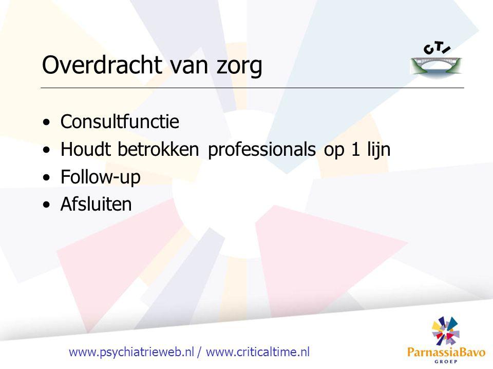 www.psychiatrieweb.nl / www.criticaltime.nl Overdracht van zorg Consultfunctie Houdt betrokken professionals op 1 lijn Follow-up Afsluiten