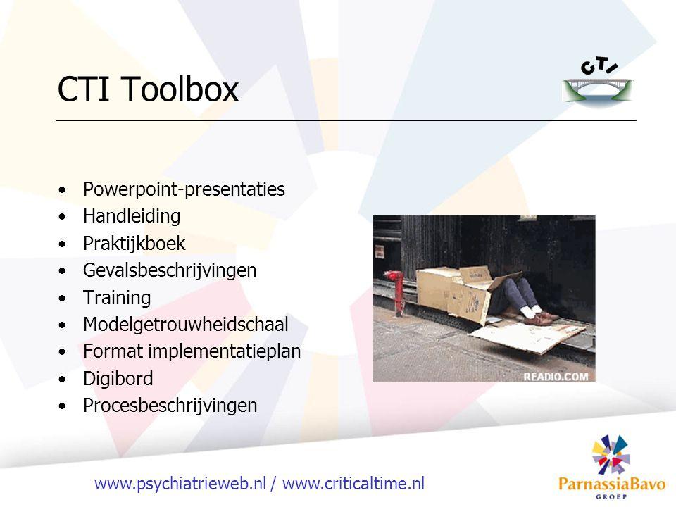 www.psychiatrieweb.nl / www.criticaltime.nl CTI Toolbox Powerpoint-presentaties Handleiding Praktijkboek Gevalsbeschrijvingen Training Modelgetrouwhei