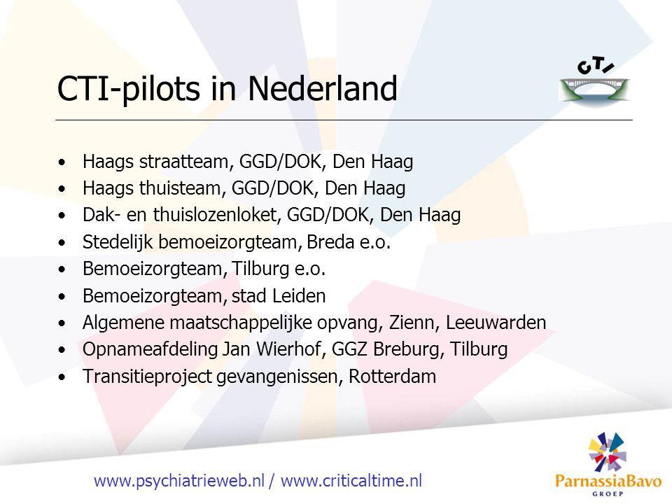 www.psychiatrieweb.nl / www.criticaltime.nl CTI-pilots in Nederland Haags straatteam, GGD/DOK, Den Haag Haags thuisteam, GGD/DOK, Den Haag Dak- en thu