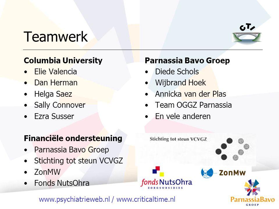 www.psychiatrieweb.nl / www.criticaltime.nl Teamwerk Columbia University Elie Valencia Dan Herman Helga Saez Sally Connover Ezra Susser Financiële ond