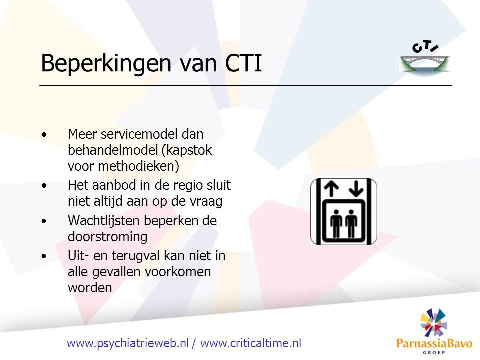 www.psychiatrieweb.nl / www.criticaltime.nl Beperkingen van CTI Meer servicemodel dan behandelmodel (kapstok voor methodieken) Het aanbod in de regio