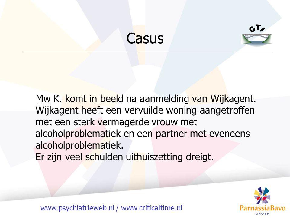www.psychiatrieweb.nl / www.criticaltime.nl Casus Mw K. komt in beeld na aanmelding van Wijkagent. Wijkagent heeft een vervuilde woning aangetroffen m