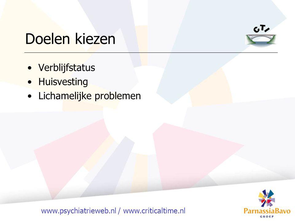 www.psychiatrieweb.nl / www.criticaltime.nl Verblijfstatus Huisvesting Lichamelijke problemen Doelen kiezen
