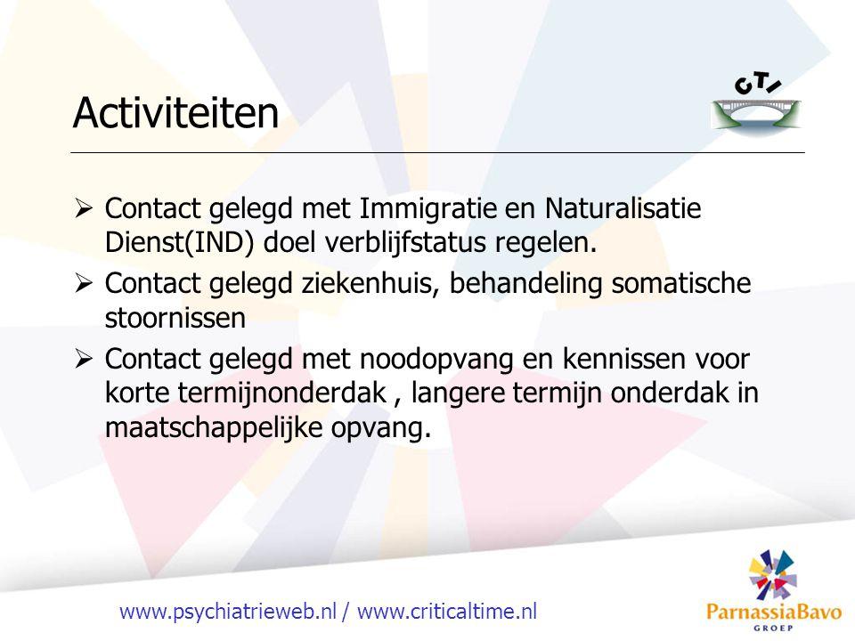 www.psychiatrieweb.nl / www.criticaltime.nl Activiteiten  Contact gelegd met Immigratie en Naturalisatie Dienst(IND) doel verblijfstatus regelen.  C