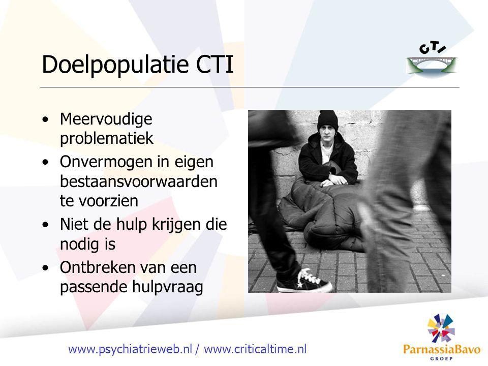 www.psychiatrieweb.nl / www.criticaltime.nl Doelpopulatie ACT DSM-IV-TR: ernstige psychiatrische problematiek In combinatie met problemen < 3 leefgebieden Langdurende onbeperkte zorg Reguliere zorg slaat niet aan Moeilijk in zorg te krijgen GAF >40