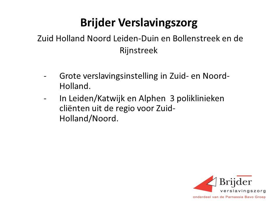 Brijder Verslavingszorg Zuid Holland Noord Leiden-Duin en Bollenstreek en de Rijnstreek -Grote verslavingsinstelling in Zuid- en Noord- Holland.