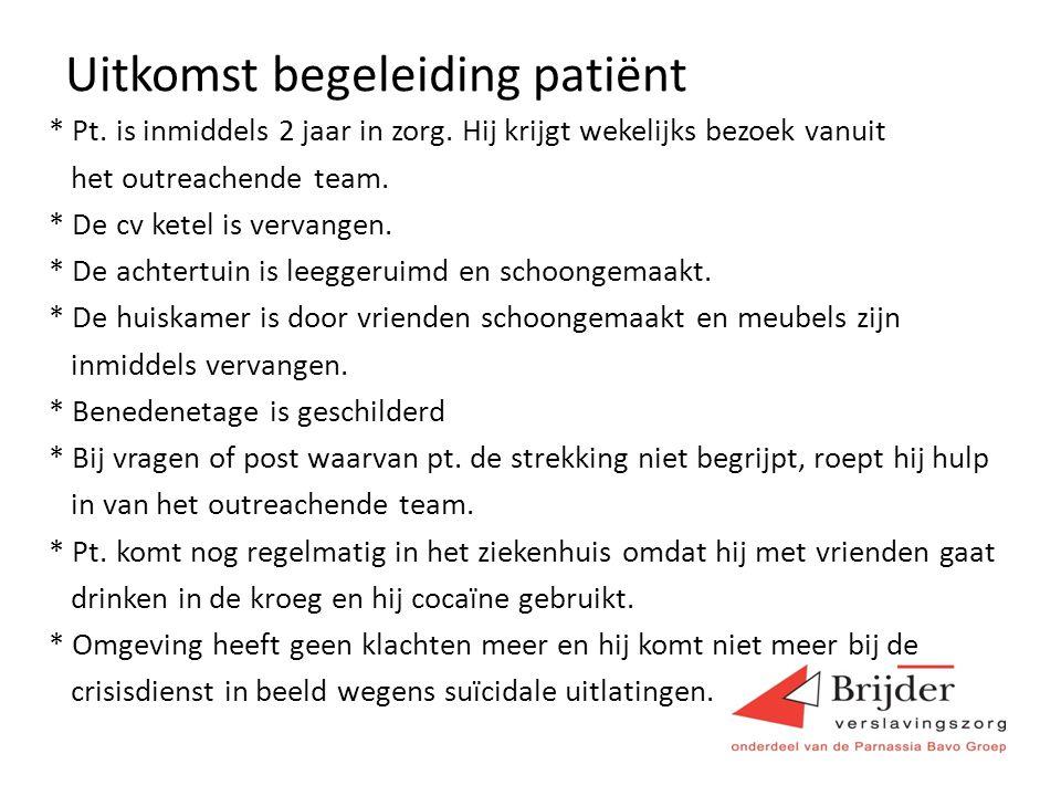 Uitkomst begeleiding patiënt * Pt.is inmiddels 2 jaar in zorg.