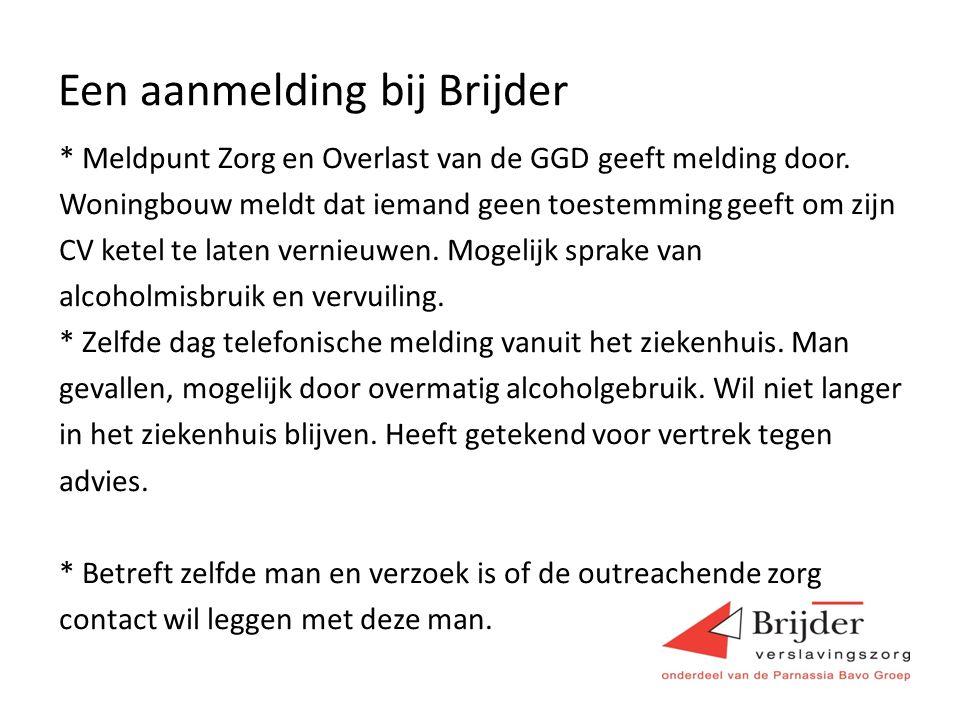 Een aanmelding bij Brijder * Meldpunt Zorg en Overlast van de GGD geeft melding door.