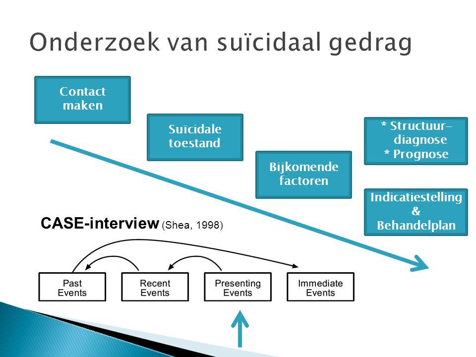 Contact maken Suïcidale toestand Bijkomende factoren Indicatiestelling & Behandelplan * Structuur- diagnose * Prognose CASE-interview (Shea, 1998)