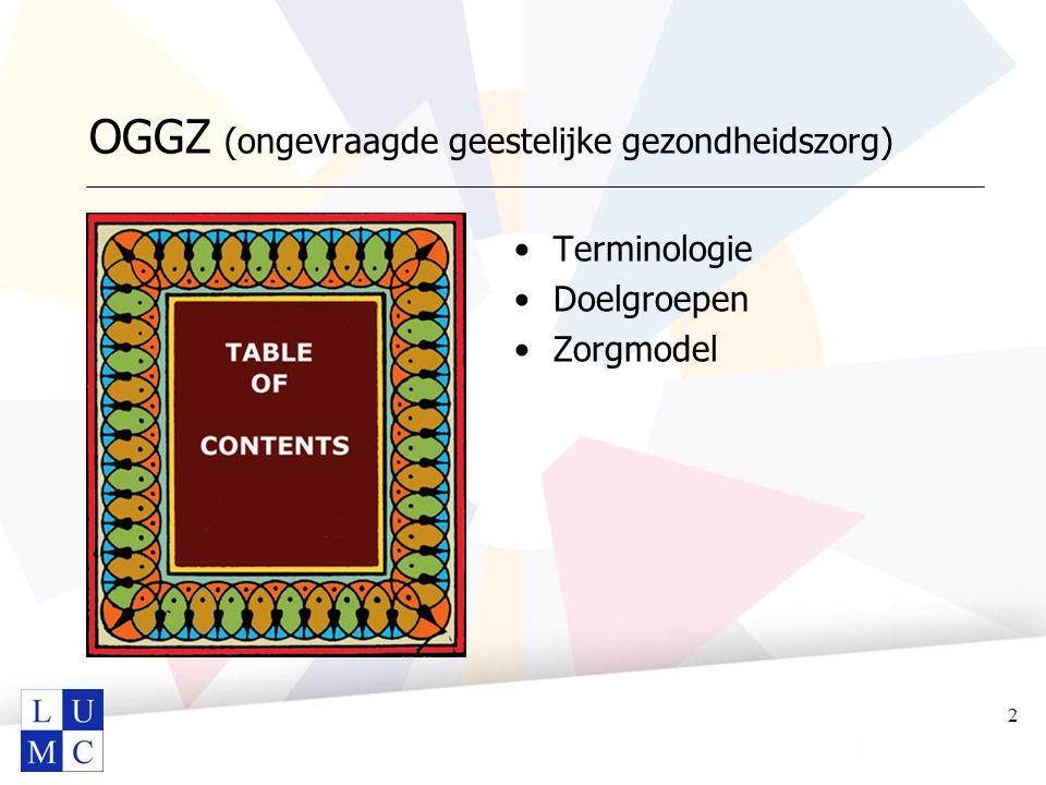 OGGZ (ongevraagde geestelijke gezondheidszorg) Terminologie Doelgroepen Zorgmodel 2