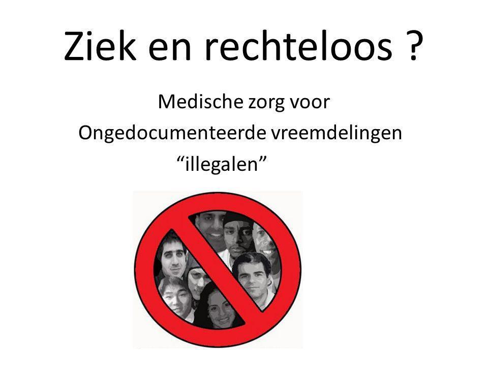 Ongedocumenteerde vreemdelingen Personen uit niet-EU landen die in Nederland geen verblijfsstatus hebben (hetzij illegaal; hetzij gedoogd).