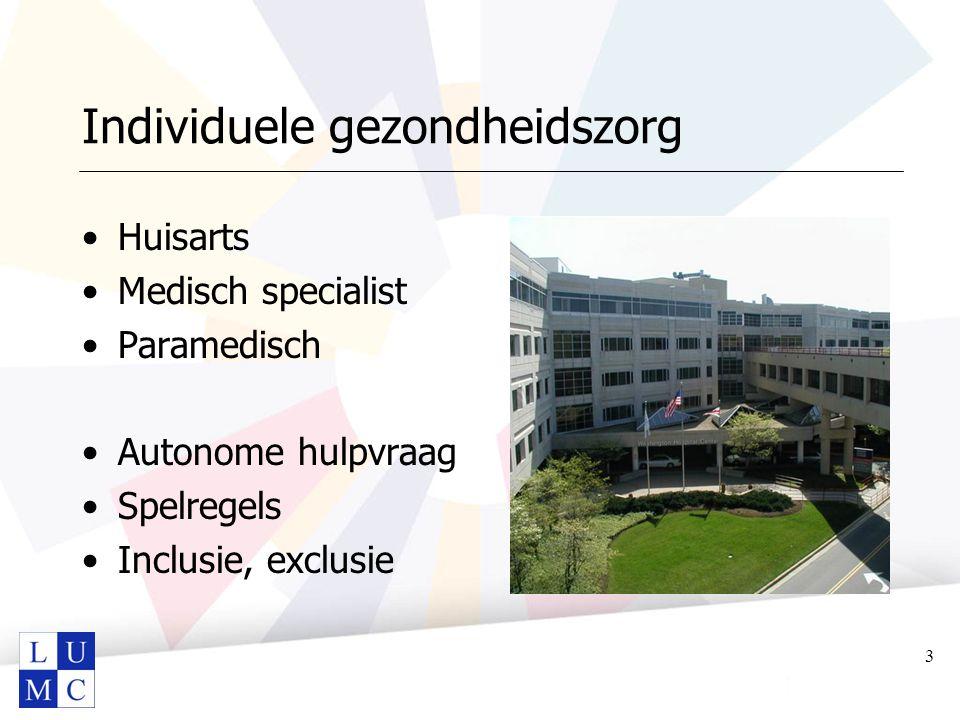 Individuele gezondheidszorg Huisarts Medisch specialist Paramedisch Autonome hulpvraag Spelregels Inclusie, exclusie 3