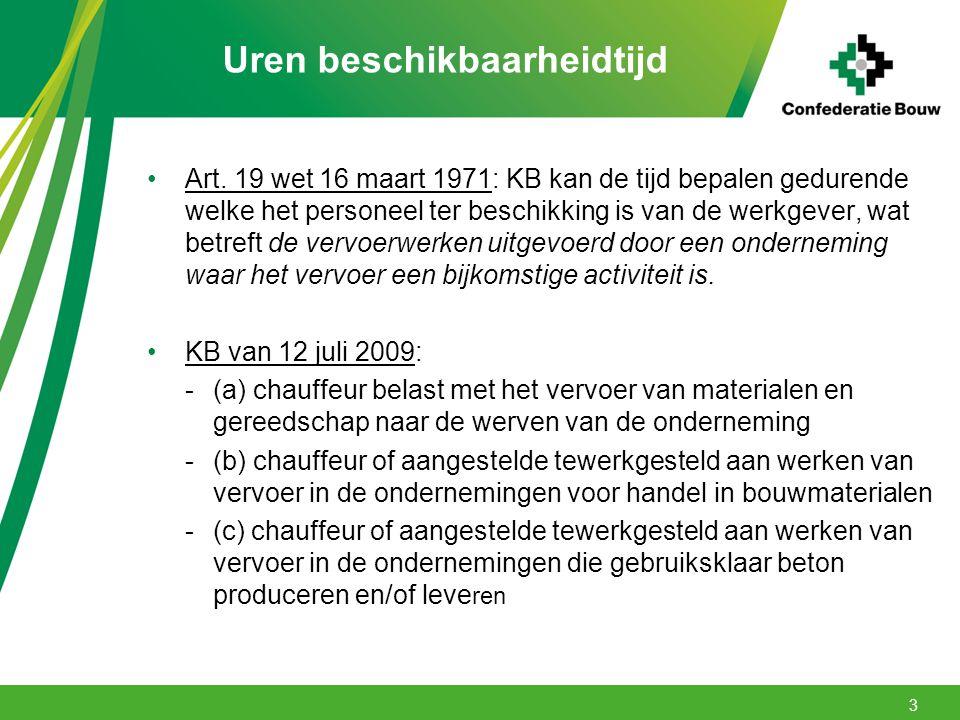 Uren beschikbaarheidtijd Art. 19 wet 16 maart 1971: KB kan de tijd bepalen gedurende welke het personeel ter beschikking is van de werkgever, wat betr