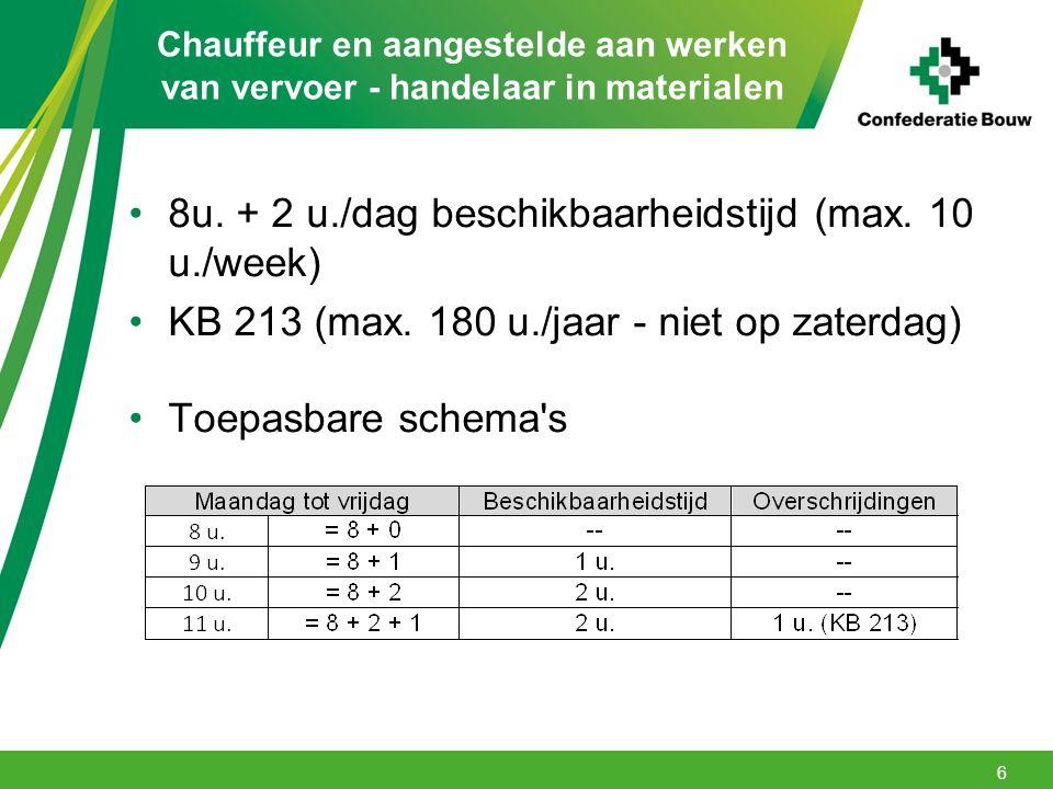 Chauffeur en aangestelde aan werken van vervoer - handelaar in materialen 8u. + 2 u./dag beschikbaarheidstijd (max. 10 u./week) KB 213 (max. 180 u./ja