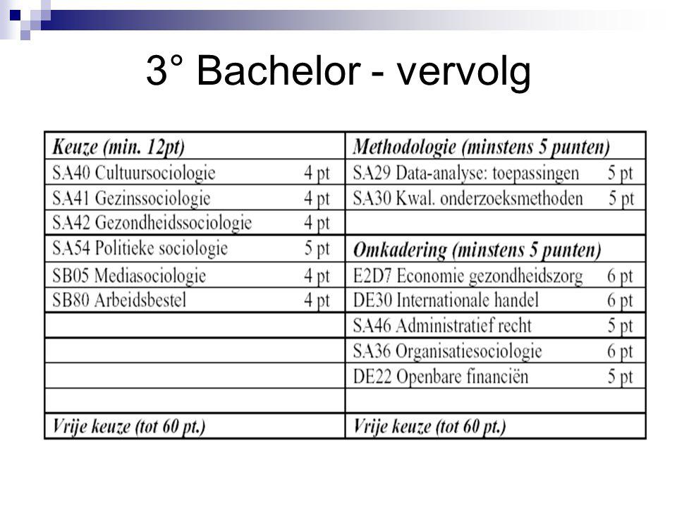 3° Bachelor - vervolg