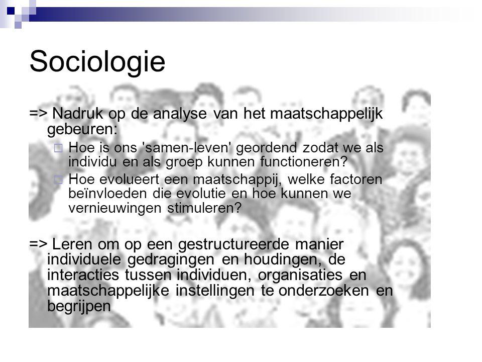 => Nadruk op de analyse van het maatschappelijk gebeuren:  Hoe is ons samen-leven geordend zodat we als individu en als groep kunnen functioneren.