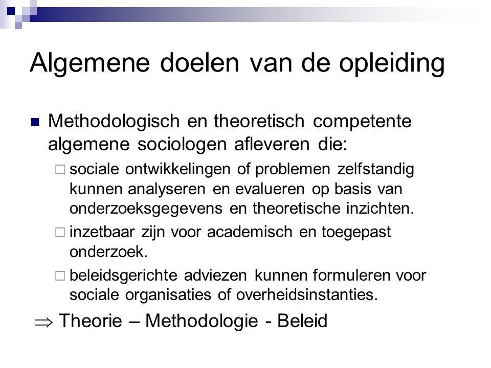 Algemene doelen van de opleiding Methodologisch en theoretisch competente algemene sociologen afleveren die:  sociale ontwikkelingen of problemen zelfstandig kunnen analyseren en evalueren op basis van onderzoeksgegevens en theoretische inzichten.