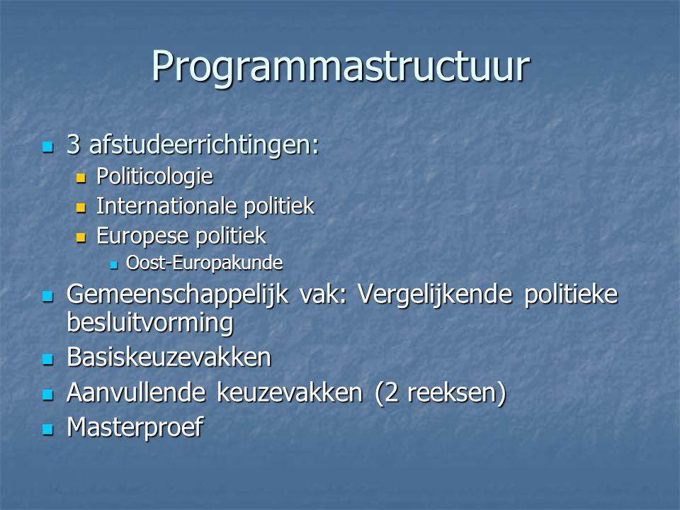 Programmastructuur 3 afstudeerrichtingen: 3 afstudeerrichtingen: Politicologie Politicologie Internationale politiek Internationale politiek Europese