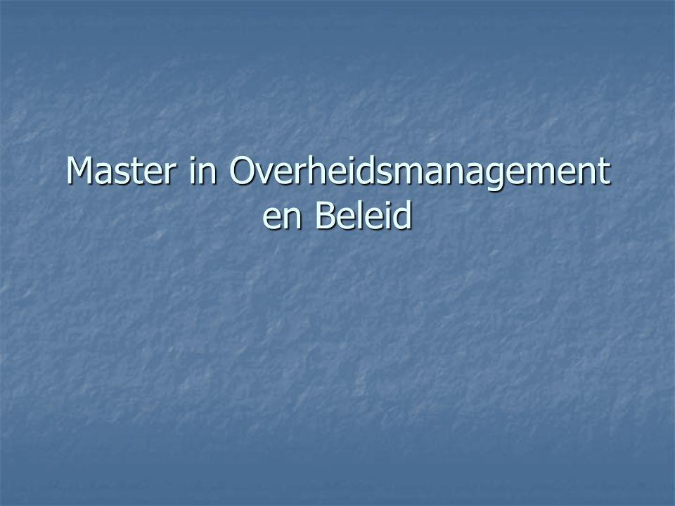 Master in Overheidsmanagement en Beleid