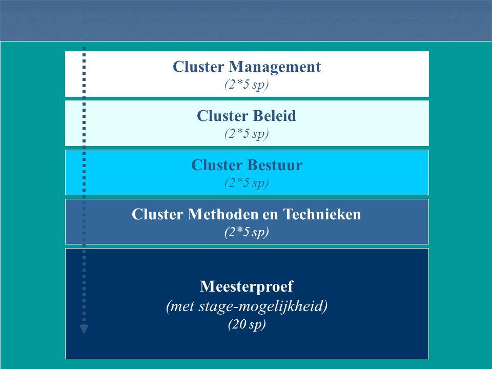 Cluster Management (2*5 sp) Meesterproef (met stage-mogelijkheid) (20 sp) Cluster Beleid (2*5 sp) Cluster Bestuur (2*5 sp) Cluster Methoden en Technieken (2*5 sp)