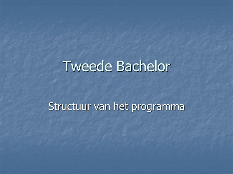 Tweede Bachelor Structuur van het programma