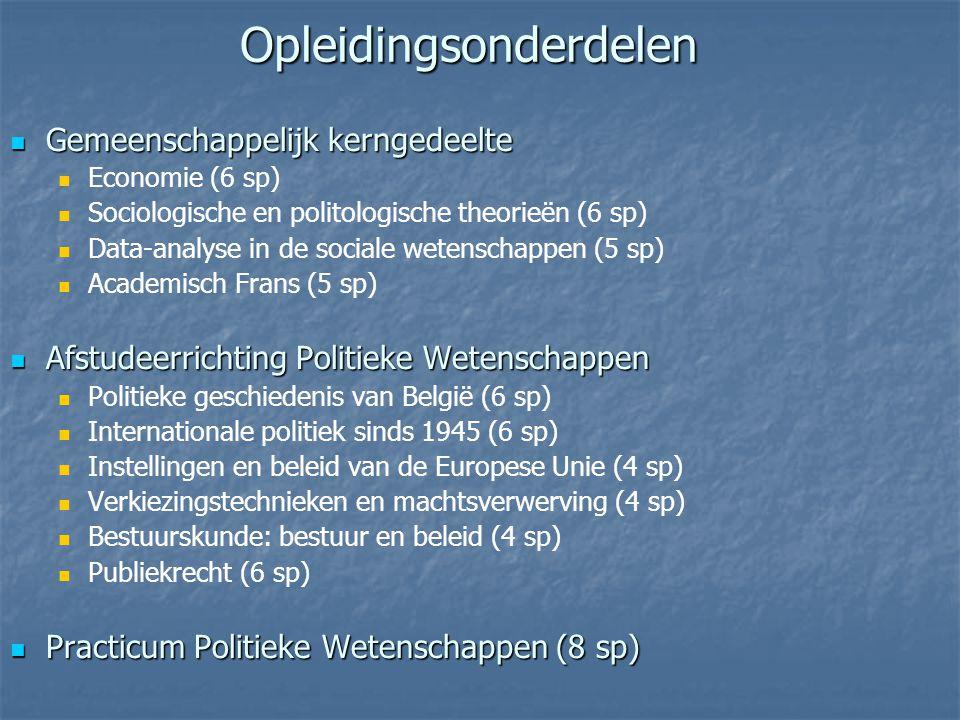 Gemeenschappelijk kerngedeelte Gemeenschappelijk kerngedeelte Economie (6 sp) Sociologische en politologische theorieën (6 sp) Data-analyse in de sociale wetenschappen (5 sp) Academisch Frans (5 sp) Afstudeerrichting Politieke Wetenschappen Afstudeerrichting Politieke Wetenschappen Politieke geschiedenis van België (6 sp) Internationale politiek sinds 1945 (6 sp) Instellingen en beleid van de Europese Unie (4 sp) Verkiezingstechnieken en machtsverwerving (4 sp) Bestuurskunde: bestuur en beleid (4 sp) Publiekrecht (6 sp) Practicum Politieke Wetenschappen (8 sp) Practicum Politieke Wetenschappen (8 sp) Opleidingsonderdelen