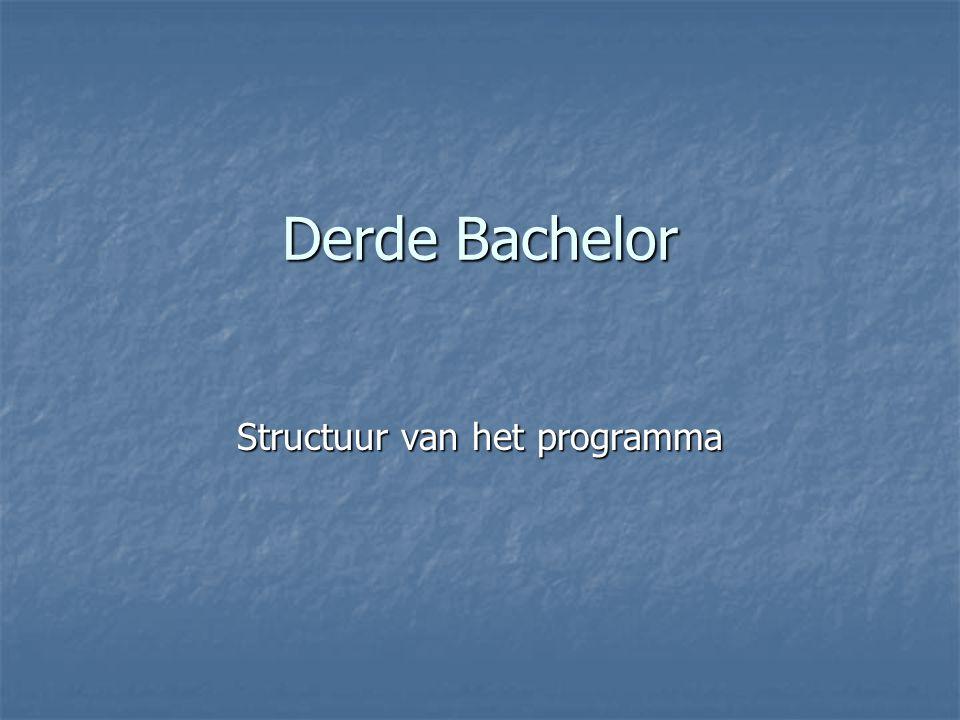 Derde Bachelor Structuur van het programma