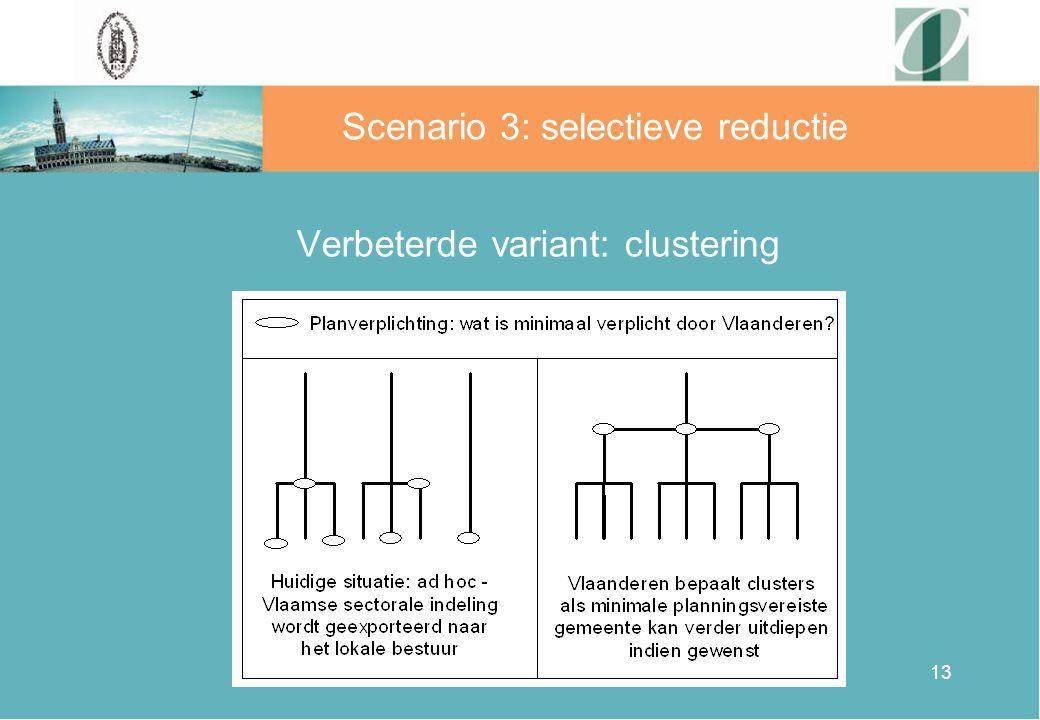 13 Verbeterde variant: clustering Scenario 3: selectieve reductie