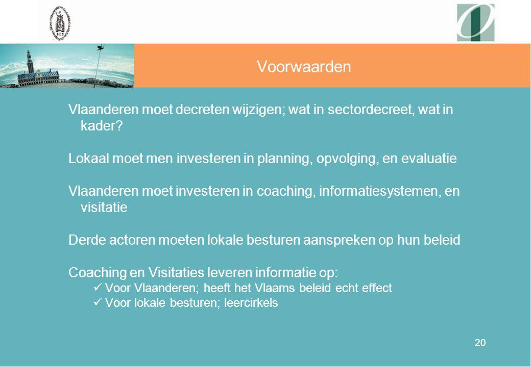 20 Voorwaarden Vlaanderen moet decreten wijzigen; wat in sectordecreet, wat in kader? Lokaal moet men investeren in planning, opvolging, en evaluatie