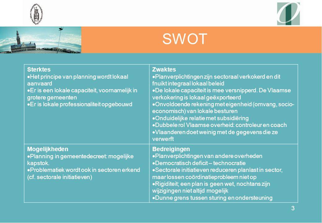 3 SWOT Sterktes  Het principe van planning wordt lokaal aanvaard  Er is een lokale capaciteit, voornamelijk in grotere gemeenten  Er is lokale prof