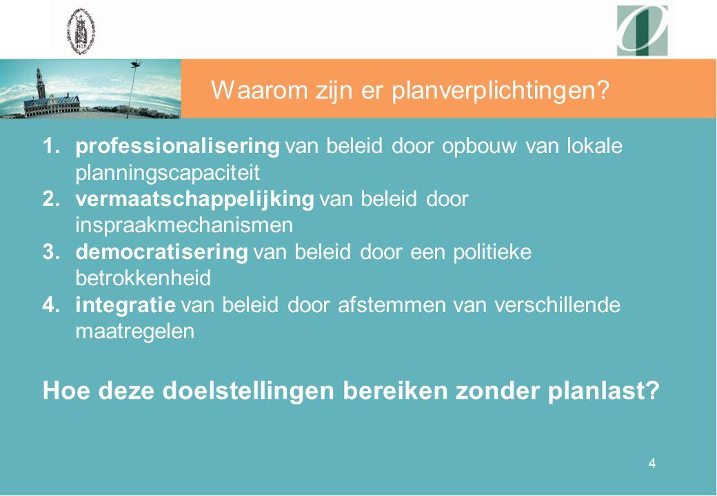 4 Waarom zijn er planverplichtingen? 1.professionalisering van beleid door opbouw van lokale planningscapaciteit 2.vermaatschappelijking van beleid do