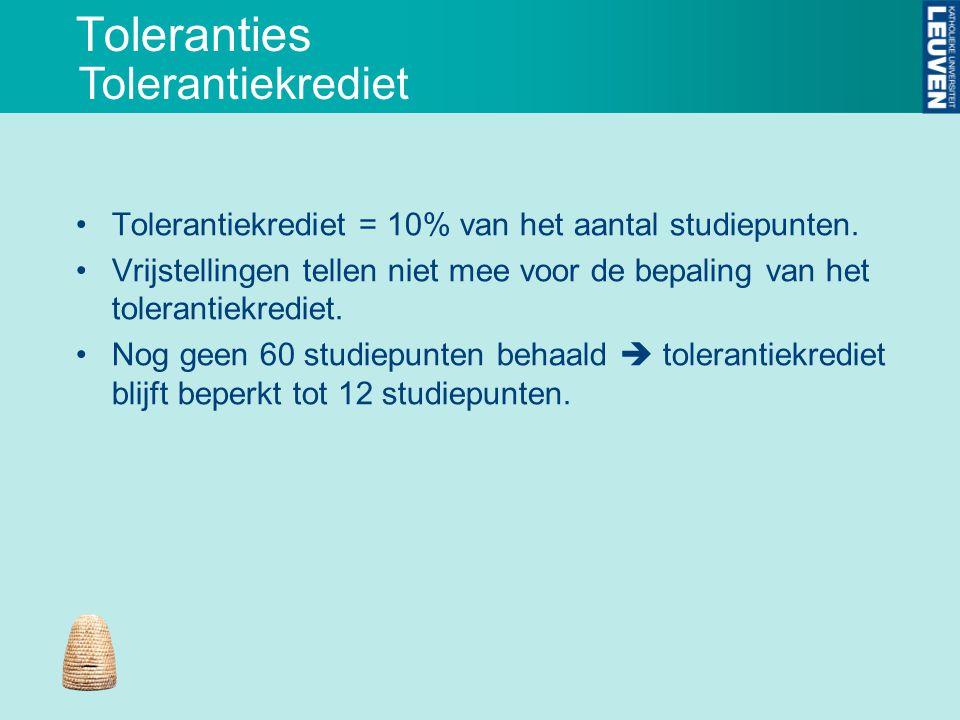 Toleranties Tolerantiekrediet = 10% van het aantal studiepunten. Vrijstellingen tellen niet mee voor de bepaling van het tolerantiekrediet. Nog geen 6