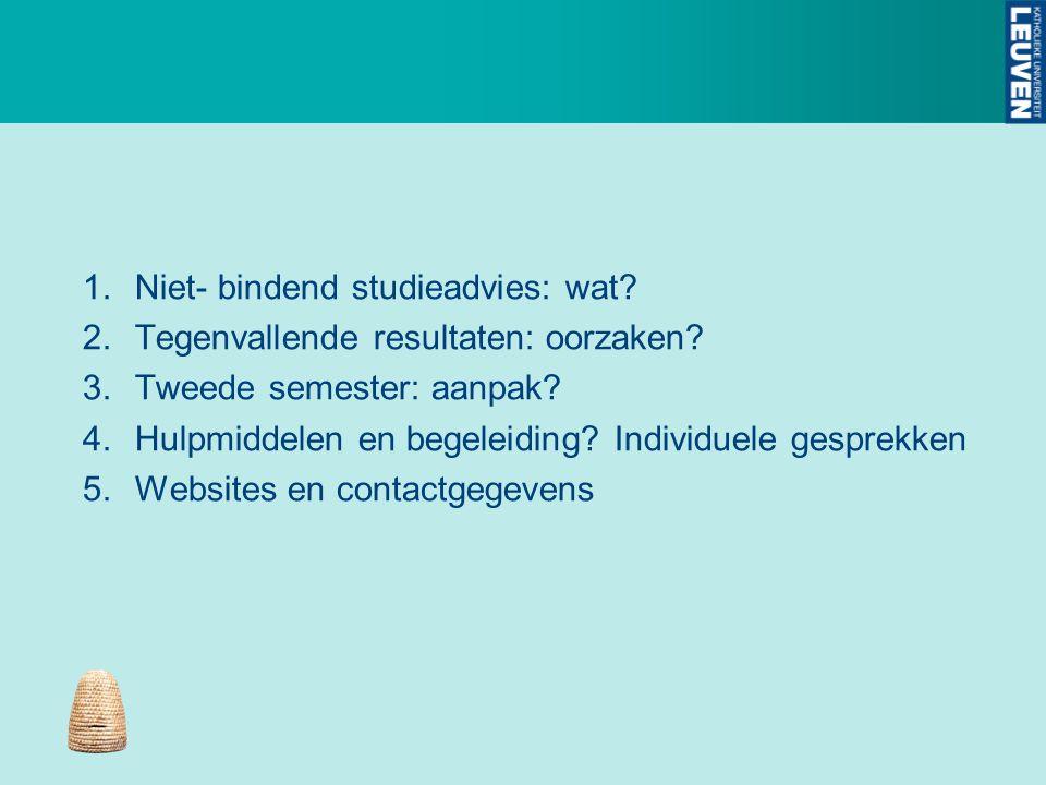 1.Niet- bindend studieadvies: wat? 2.Tegenvallende resultaten: oorzaken? 3.Tweede semester: aanpak? 4.Hulpmiddelen en begeleiding? Individuele gesprek
