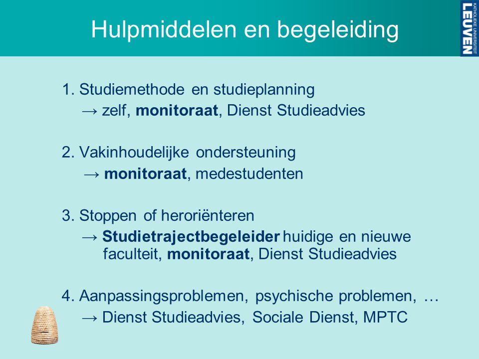 Hulpmiddelen en begeleiding 1. Studiemethode en studieplanning → zelf, monitoraat, Dienst Studieadvies 2. Vakinhoudelijke ondersteuning → monitoraat,