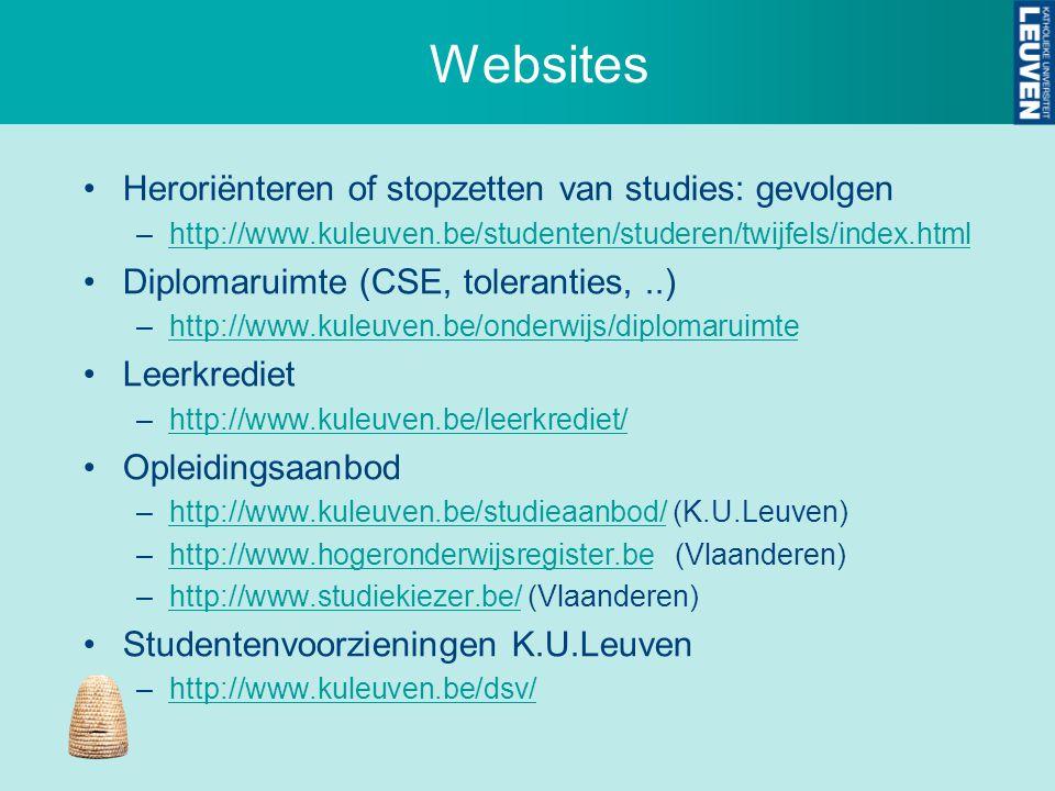 Websites Heroriënteren of stopzetten van studies: gevolgen –http://www.kuleuven.be/studenten/studeren/twijfels/index.htmlhttp://www.kuleuven.be/studenten/studeren/twijfels/index.html Diplomaruimte (CSE, toleranties,..) –http://www.kuleuven.be/onderwijs/diplomaruimtehttp://www.kuleuven.be/onderwijs/diplomaruimte Leerkrediet –http://www.kuleuven.be/leerkrediet/http://www.kuleuven.be/leerkrediet/ Opleidingsaanbod –http://www.kuleuven.be/studieaanbod/ (K.U.Leuven)http://www.kuleuven.be/studieaanbod/ –http://www.hogeronderwijsregister.be (Vlaanderen)http://www.hogeronderwijsregister.be –http://www.studiekiezer.be/ (Vlaanderen)http://www.studiekiezer.be/ Studentenvoorzieningen K.U.Leuven –http://www.kuleuven.be/dsv/http://www.kuleuven.be/dsv/