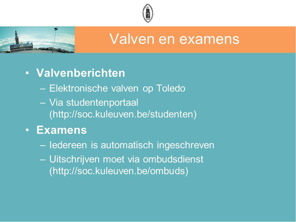 Valven en examens Valvenberichten –Elektronische valven op Toledo –Via studentenportaal (http://soc.kuleuven.be/studenten) Examens –Iedereen is automatisch ingeschreven –Uitschrijven moet via ombudsdienst (http://soc.kuleuven.be/ombuds)