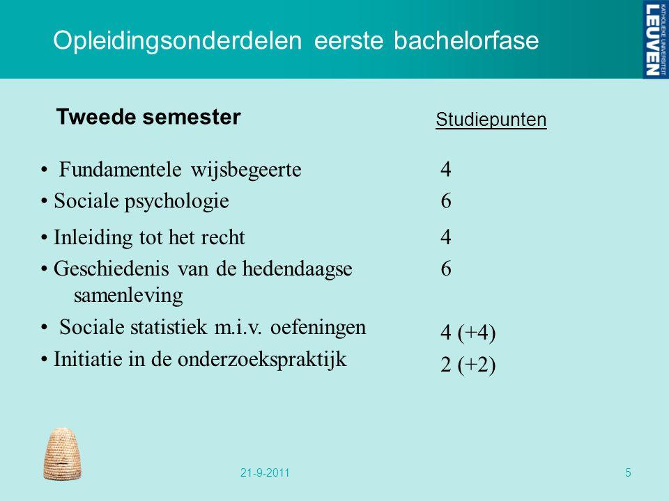 Tweede semester Inleiding tot het recht Geschiedenis van de hedendaagse samenleving Sociale statistiek m.i.v. oefeningen Initiatie in de onderzoekspra