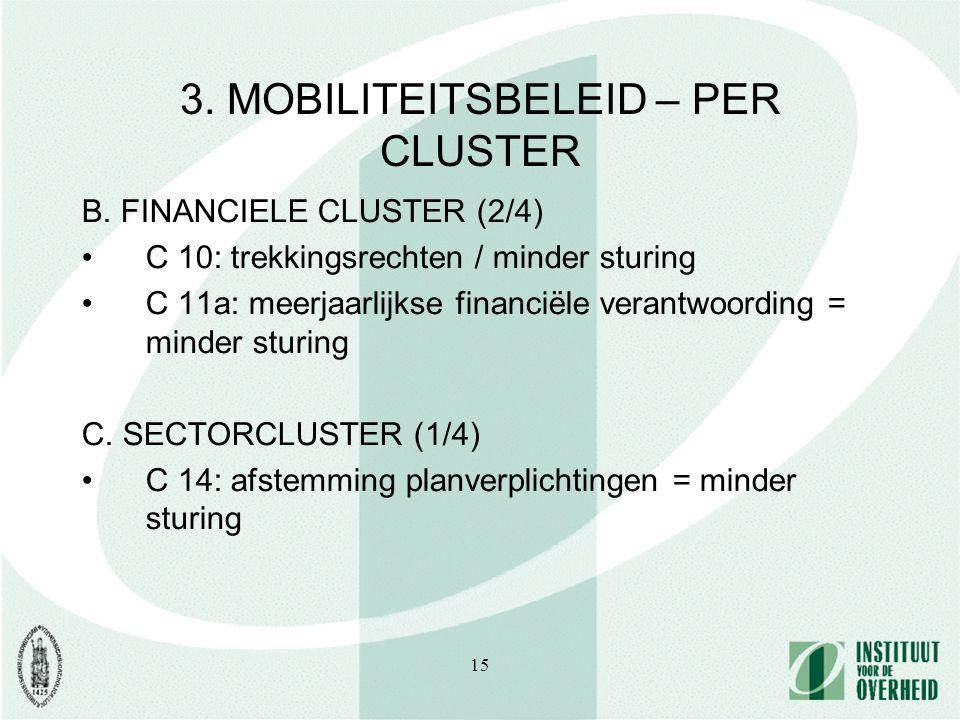 15 3. MOBILITEITSBELEID – PER CLUSTER B. FINANCIELE CLUSTER (2/4) C 10: trekkingsrechten / minder sturing C 11a: meerjaarlijkse financiële verantwoord