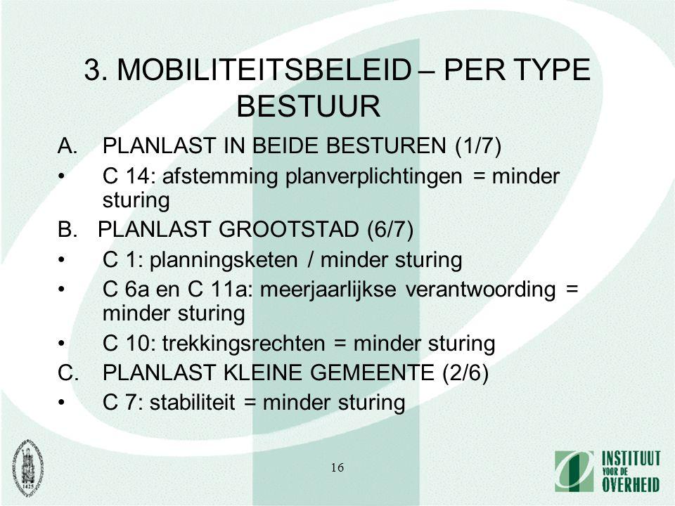 16 3. MOBILITEITSBELEID – PER TYPE BESTUUR A.PLANLAST IN BEIDE BESTUREN (1/7) C 14: afstemming planverplichtingen = minder sturing B. PLANLAST GROOTST