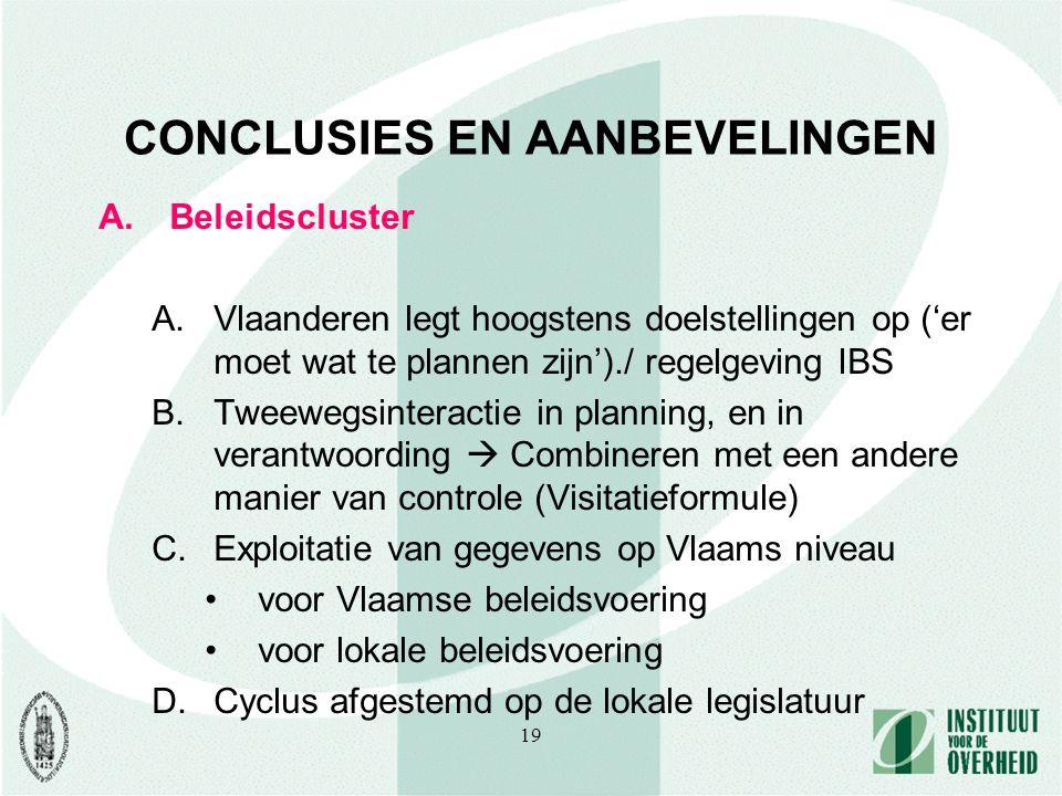 19 CONCLUSIES EN AANBEVELINGEN A.Beleidscluster A.Vlaanderen legt hoogstens doelstellingen op ('er moet wat te plannen zijn')./ regelgeving IBS B.Tweewegsinteractie in planning, en in verantwoording  Combineren met een andere manier van controle (Visitatieformule) C.Exploitatie van gegevens op Vlaams niveau voor Vlaamse beleidsvoering voor lokale beleidsvoering D.Cyclus afgestemd op de lokale legislatuur
