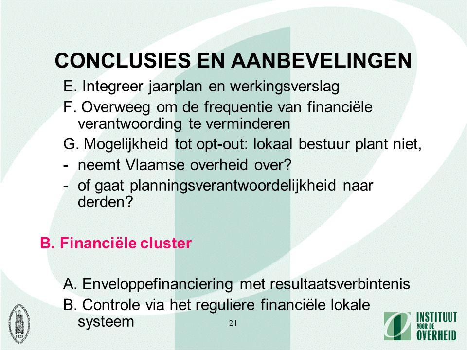 21 CONCLUSIES EN AANBEVELINGEN E. Integreer jaarplan en werkingsverslag F. Overweeg om de frequentie van financiële verantwoording te verminderen G. M