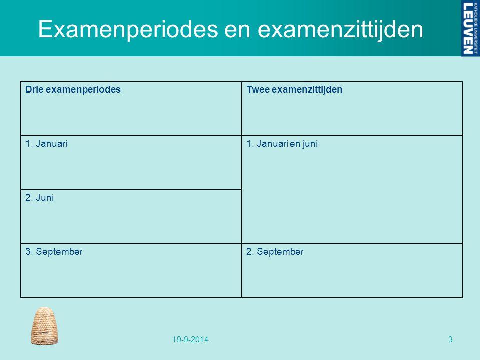 Examenperiodes en examenzittijden 19-9-20143 Drie examenperiodesTwee examenzittijden 1.