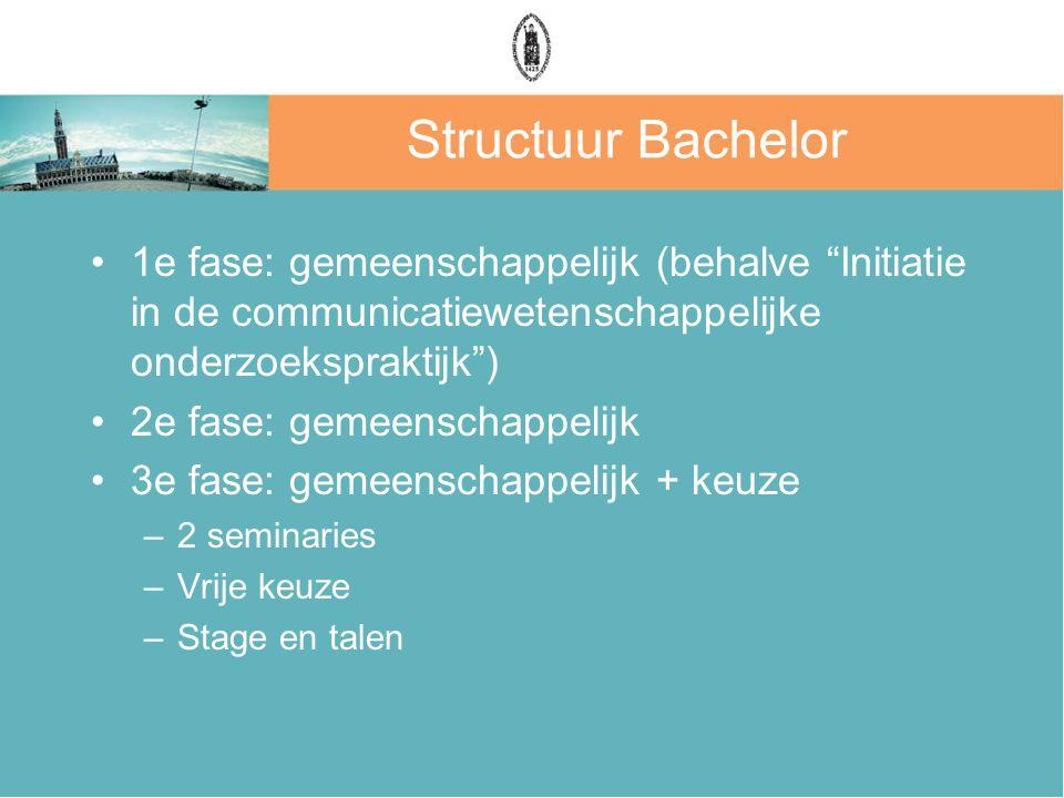 Structuur Bachelor 1e fase: gemeenschappelijk (behalve Initiatie in de communicatiewetenschappelijke onderzoekspraktijk ) 2e fase: gemeenschappelijk 3e fase: gemeenschappelijk + keuze –2 seminaries –Vrije keuze –Stage en talen