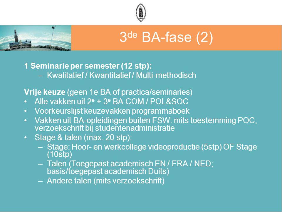 3 de BA-fase (2) 1 Seminarie per semester (12 stp): –Kwalitatief / Kwantitatief / Multi-methodisch Vrije keuze (geen 1e BA of practica/seminaries) Alle vakken uit 2 e + 3 e BA COM / POL&SOC Voorkeurslijst keuzevakken programmaboek Vakken uit BA-opleidingen buiten FSW: mits toestemming POC, verzoekschrift bij studentenadministratie Stage & talen (max.