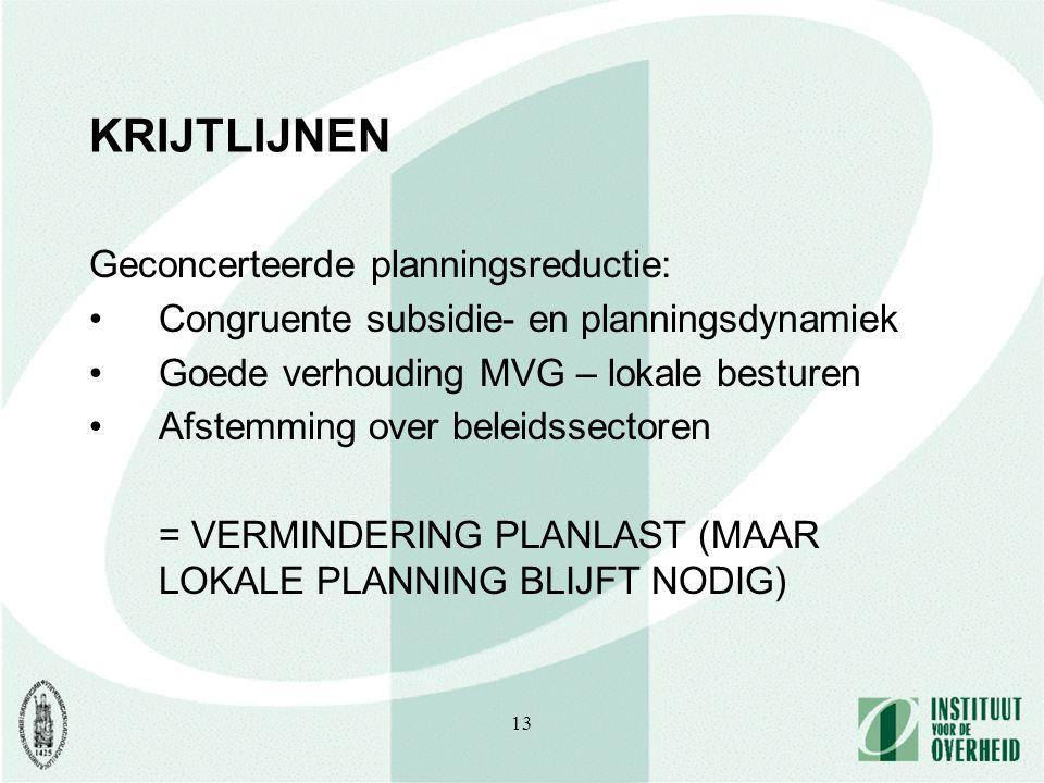 13 KRIJTLIJNEN Geconcerteerde planningsreductie: Congruente subsidie- en planningsdynamiek Goede verhouding MVG – lokale besturen Afstemming over bele