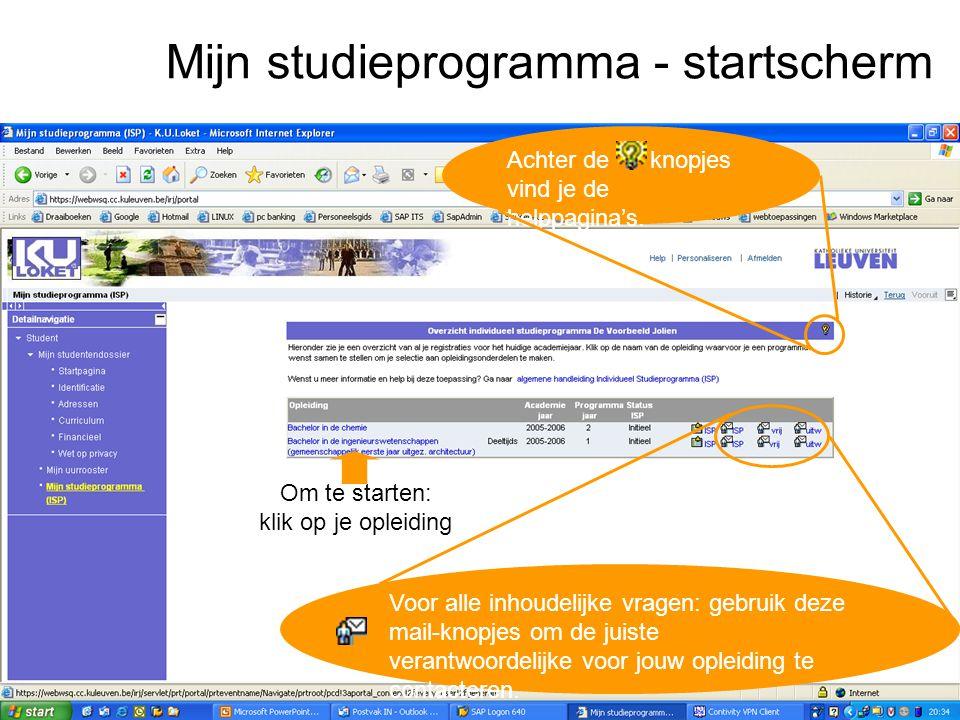 Mijn studieprogramma - startscherm Achter de knopjes vind je de helppagina's.