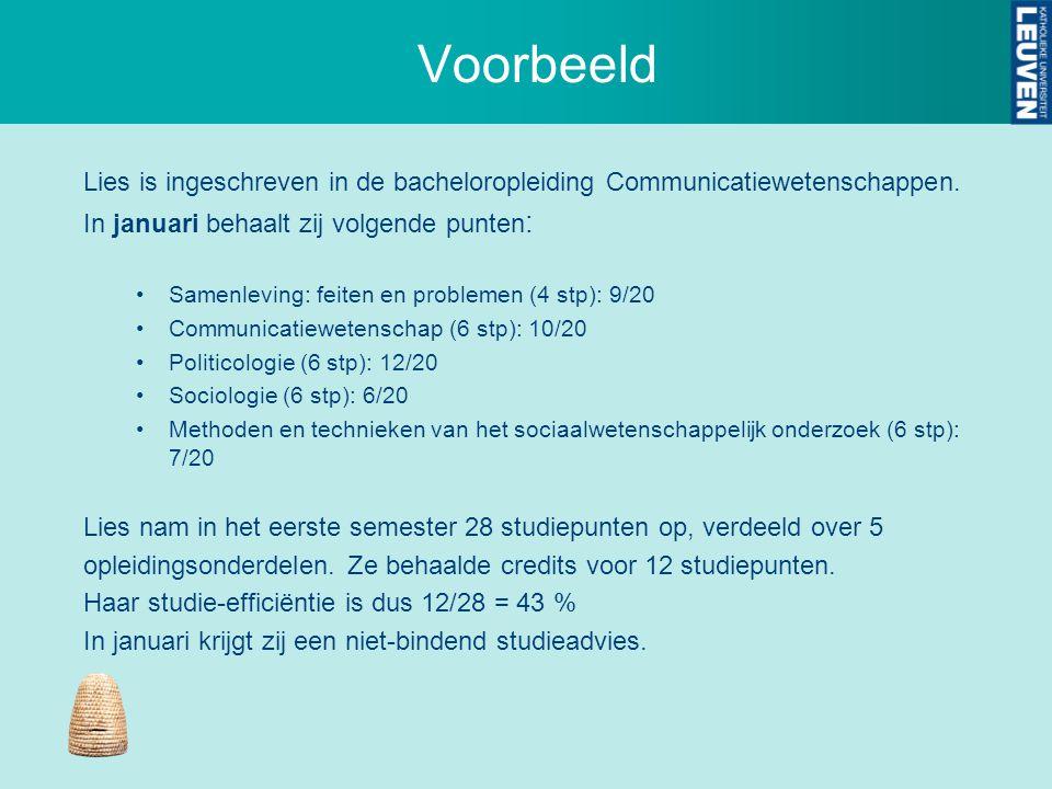 Voorbeeld Lies is ingeschreven in de bacheloropleiding Communicatiewetenschappen. In januari behaalt zij volgende punten : Samenleving: feiten en prob