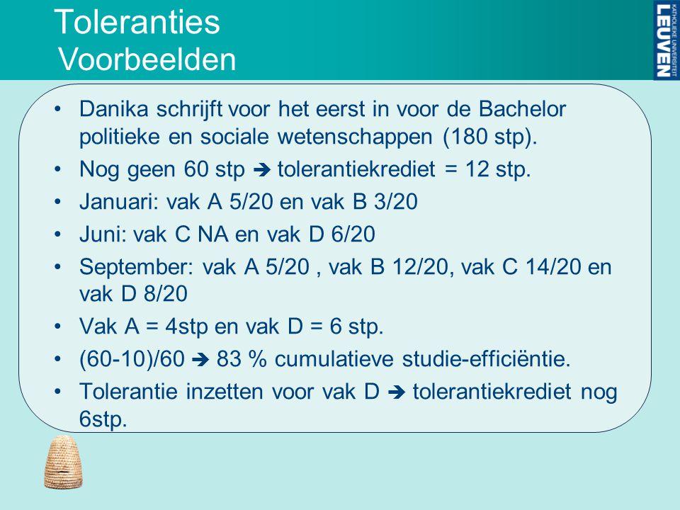 Toleranties Danika schrijft voor het eerst in voor de Bachelor politieke en sociale wetenschappen (180 stp). Nog geen 60 stp  tolerantiekrediet = 12