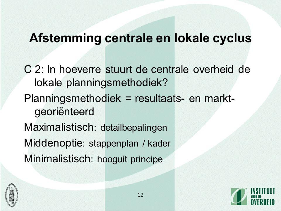 12 Afstemming centrale en lokale cyclus C 2: In hoeverre stuurt de centrale overheid de lokale planningsmethodiek.