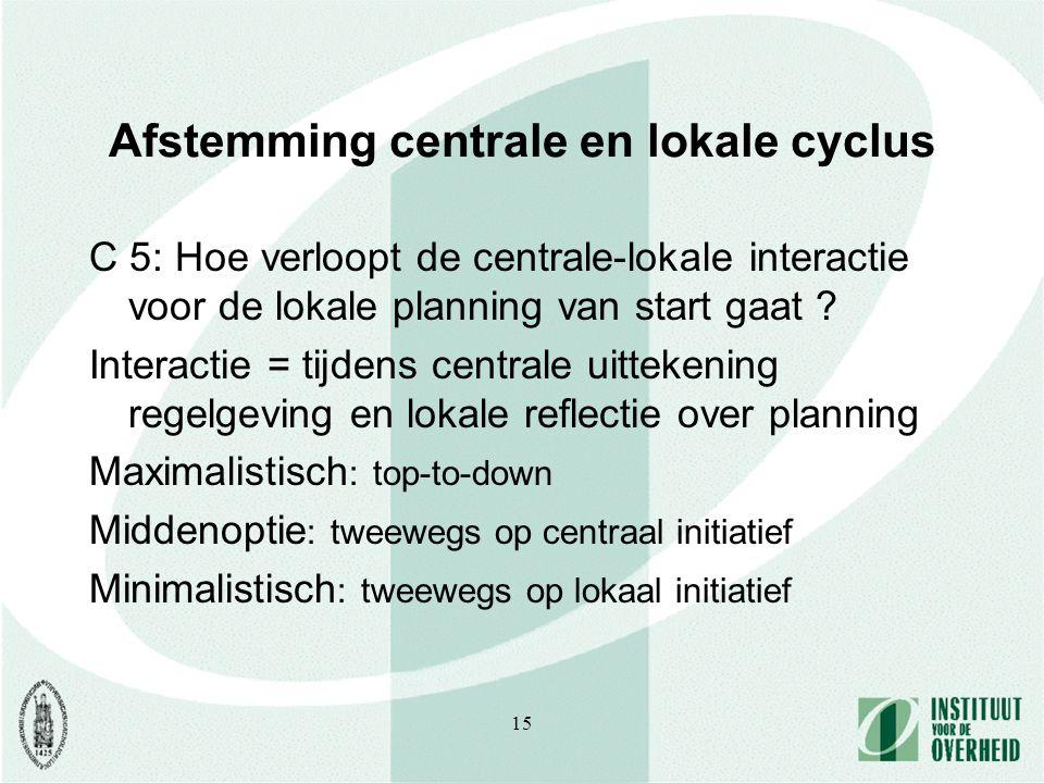 15 Afstemming centrale en lokale cyclus C 5: Hoe verloopt de centrale-lokale interactie voor de lokale planning van start gaat .